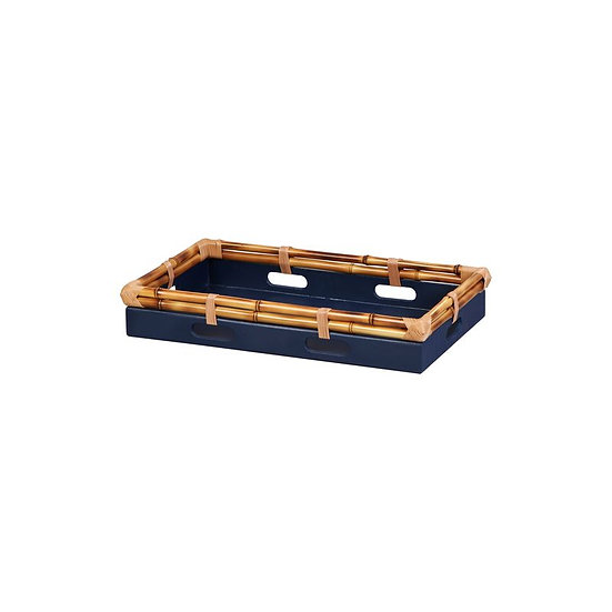 Tray in bamboo,  blue