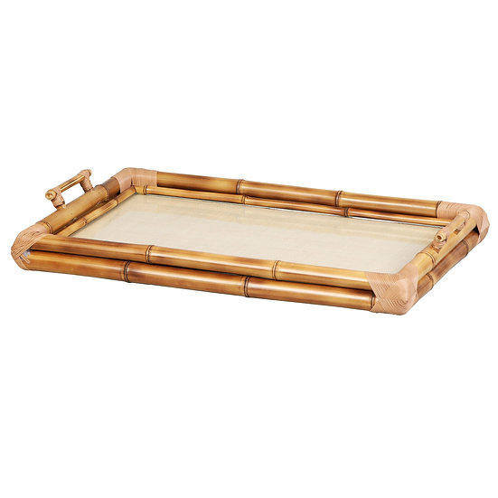 Tray  in bamboo & braided straw