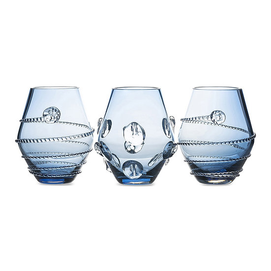 Vases handblown glass blue (set of 3)