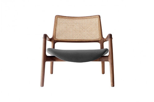 Lounge chair with walnut wood , leather seat & rattan