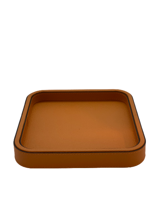 Tray in leather Handmade, Biscuit