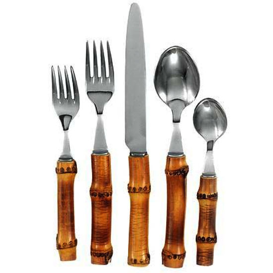 Flatware in natural bamboo & stainless steel for 1 person (5pcs)