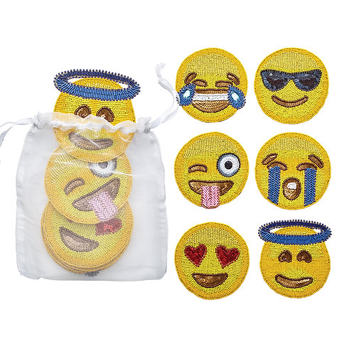 Coasters Emoji Yellow Set 6