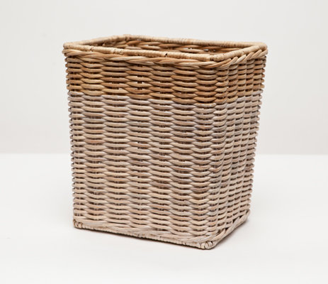 Wastebasket Rect with Metal Liner Wicker 28cm