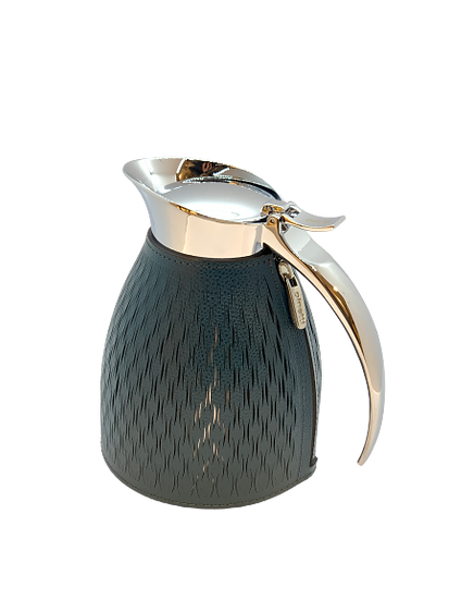 Carafe thermal in leather Handmade, Petrol blue