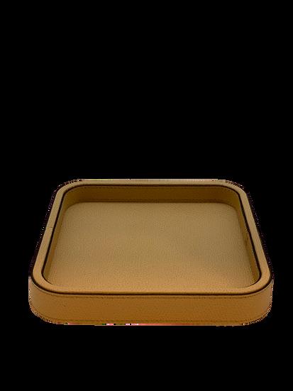 Tray in leather  Handmade, Nocciola