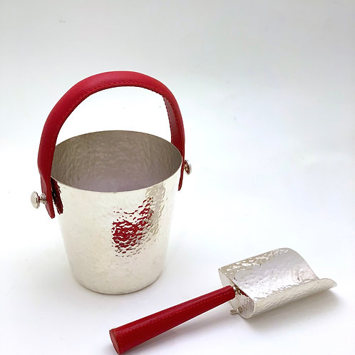 Silver-plated Ice pail with ice scoop