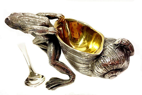 Frog dragging conch Salt Cellar with spoon