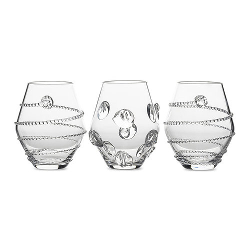 Vases handblown glass clear (set of 3)