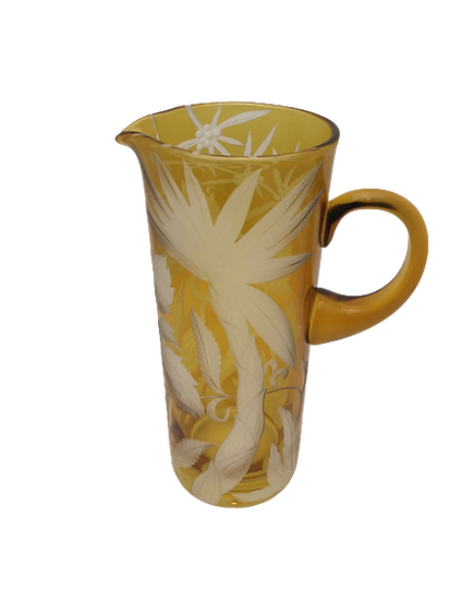 Pitcher in crystal hand etched amber