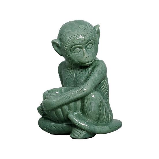 Monkey statue in Ceramic in dark Green XL