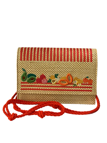 Bag Straw  handembroidered Red