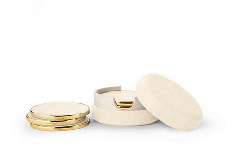 Coaster Set Cream Shagreen ( set of 6 pieces )