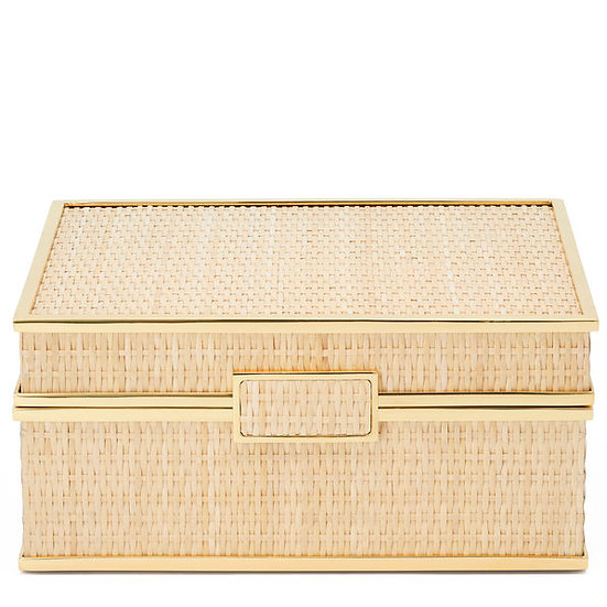 Jewelry box in woven cane