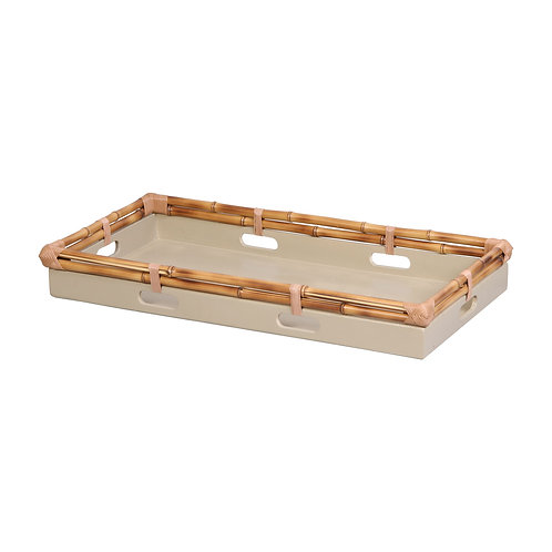 Tray in bamboo, celadon M