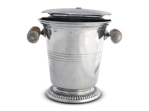 Ice Bucket with Hinged Lid & Antler Handle