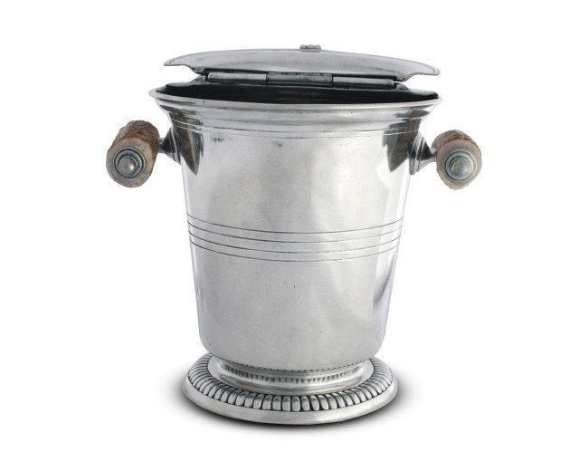 Ice Bucket with Hinged Lid & Antler Handle