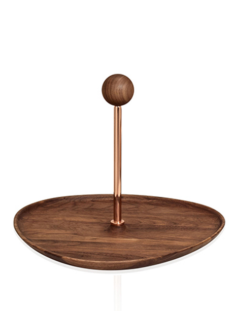 Tray with copper stem walnut top & ball handle