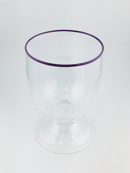 Footed Hurricane handblown glass clear in different colors