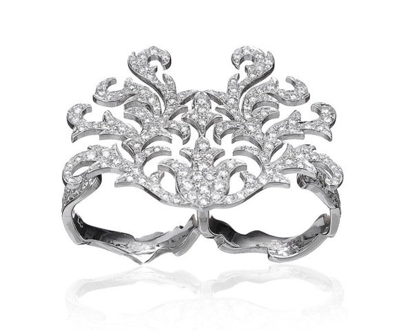 Ring «Two fingers»  with Diamonds