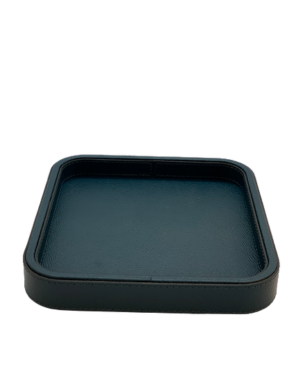 Tray in leather Handmade, Petrol blue