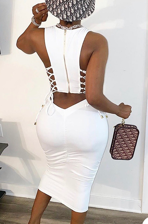 Moii Lace Up Dress
