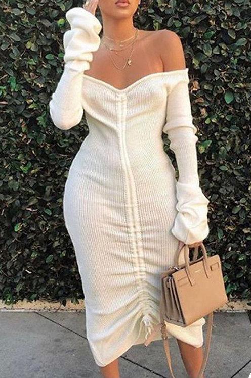 Adrienne Off Shoulder Ruched Dress