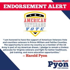 Pyon Accepts Endorsement of American Veterans Vote