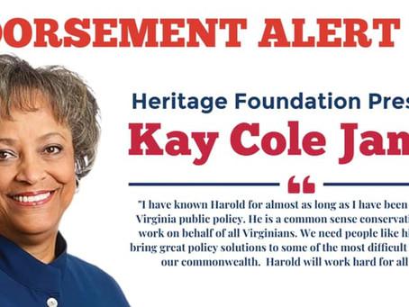 Pyon Accepts Endorsement of Heritage President Kay Cole James
