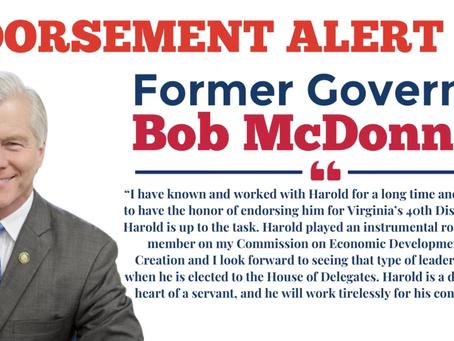 Pyon Announces Endorsement of Former Governor Bob McDonnell