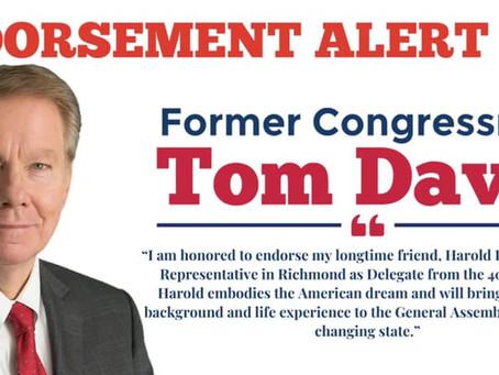 Pyon Accepts Endorsement of Former Congressman Tom Davis