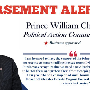 Pyon Announces Endorsement from Prince William Chamber PAC