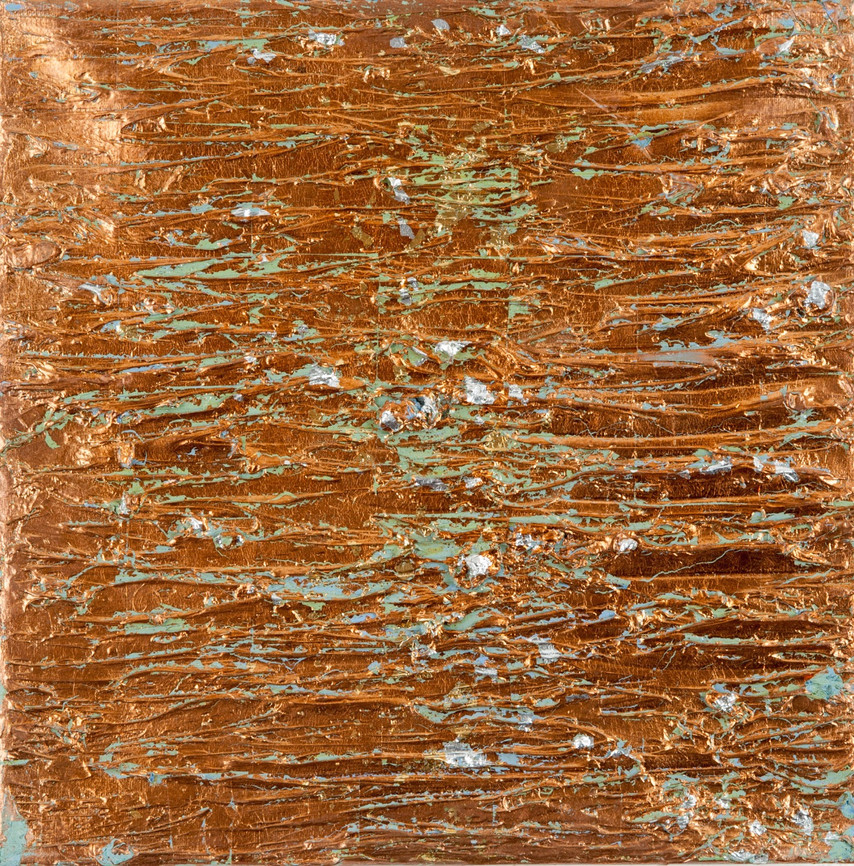 abstract oil painting with silver & cupper-leaf on canvas size 30cm x 30cm