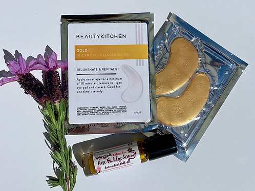 Golden Eyes • Under Eye Duo with Gold Collagen Eye Masks & Roll-On to Revitalize