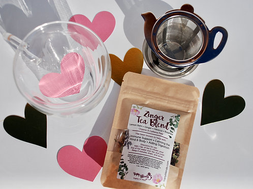 Tea Time Set • Heart Shaped Mug + Strainer + Herbal Tea