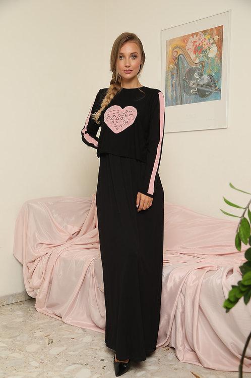 שמלת/כותונת הנקה עם לב יהלומים