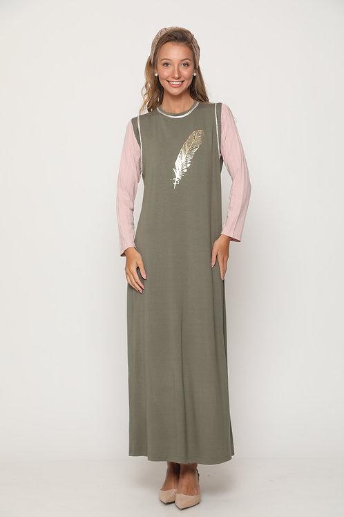 Nursing gold plume gown