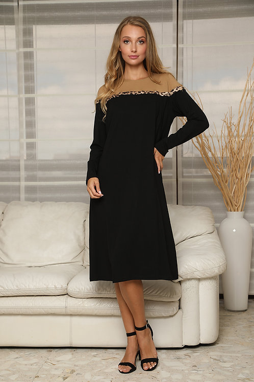 Nursing modest gown with leopard touch