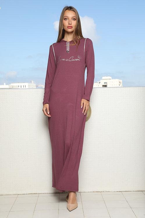 שמלת / כותונת הנקה מקסי ריב עם קפוצון ויהלומים