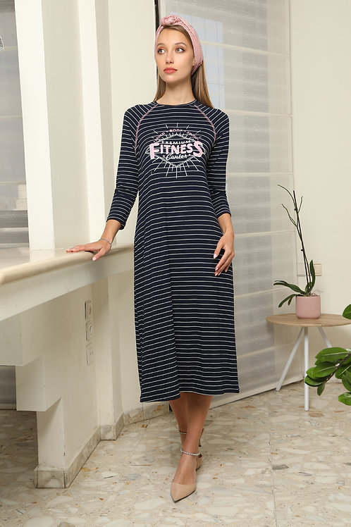Modest stripes  midi gown