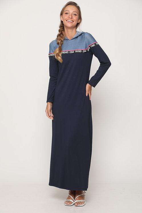 שמלת  מקסי  עם קפוצון