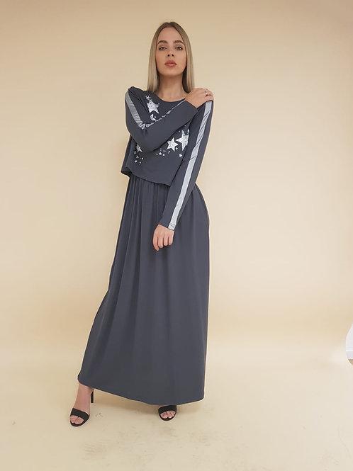 שמלת/כותונת הנקה עם הדפס כוכבים  כסוף
