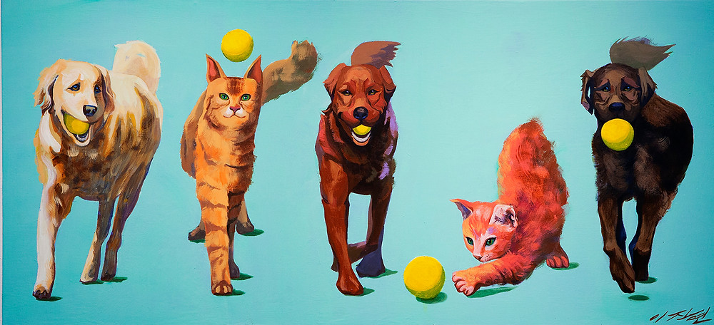 1. CATOG1개양이1, Acrylic on Canvas, 31.5 x 53.1in, 2010