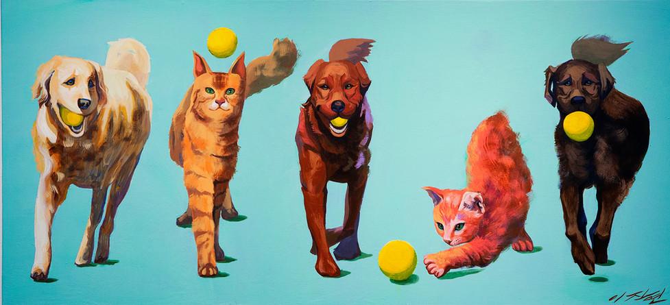 The Caucasian, Mongolian, Australian,  Weird, and Negroid CATOG 백,황,갈,이상한,흑 개양이 ,  acrylic on canvas, 80cm x 135cm