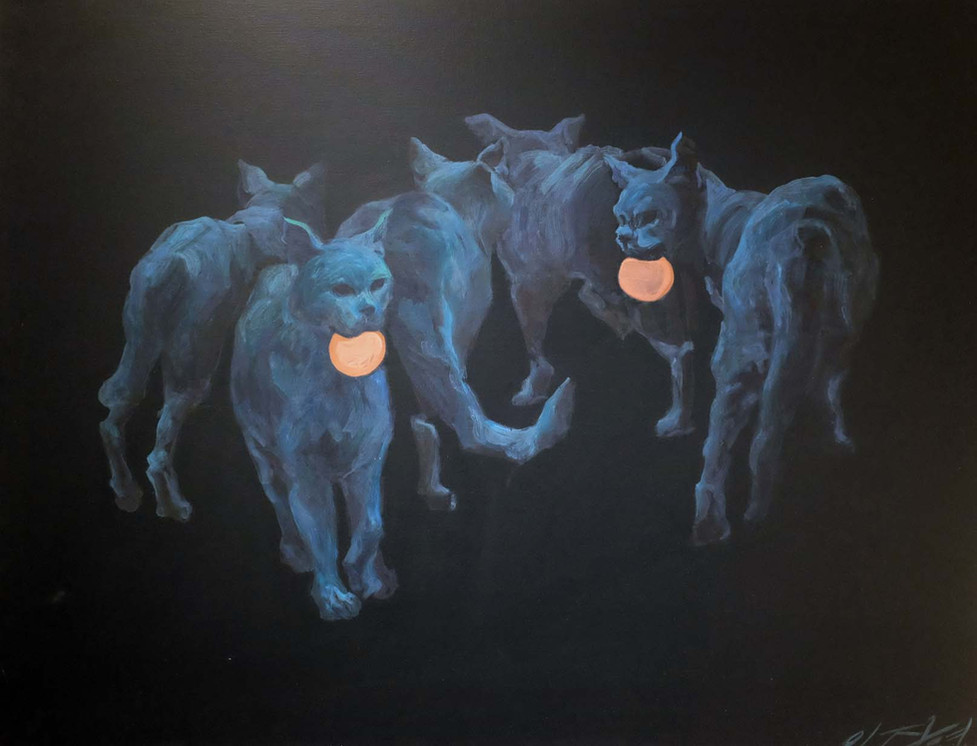 Where are the cats  going? 고양이들은 어디로 가는가?,  acrylic on canvas, 91cm x116.5cm,  2011