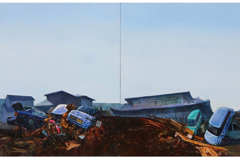 Media Meditation-Anxiety in Peace1, oil on canvas, 130.3cm x 162.2cm, 2012