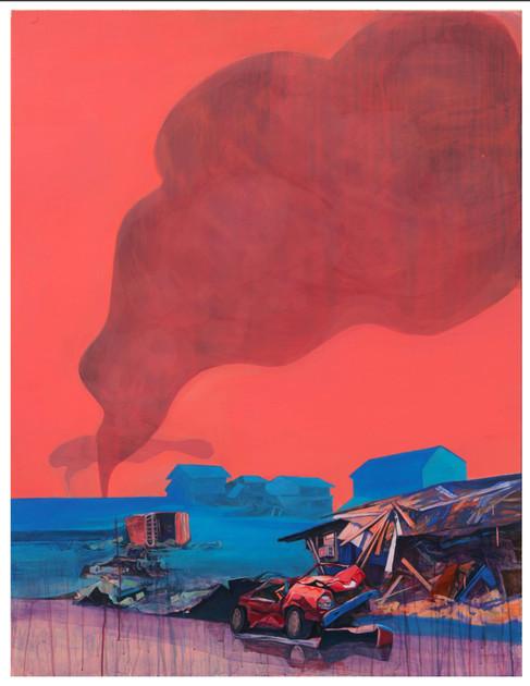 Media Meditation-Anxiety in Peace3, acrylic on canvas, 145.5cm x 112.1cm, 2012