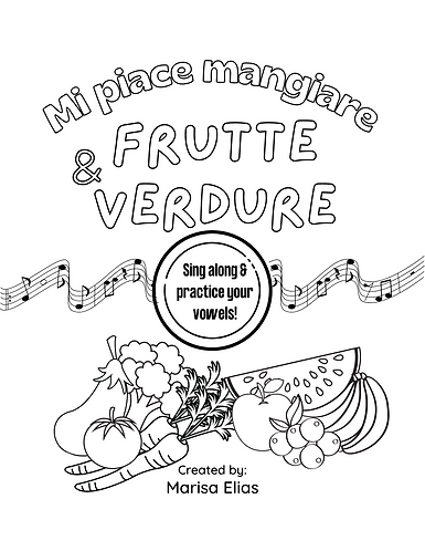 Italian Vowels. Sing Along Coloring Activity Book. Printable PDF.