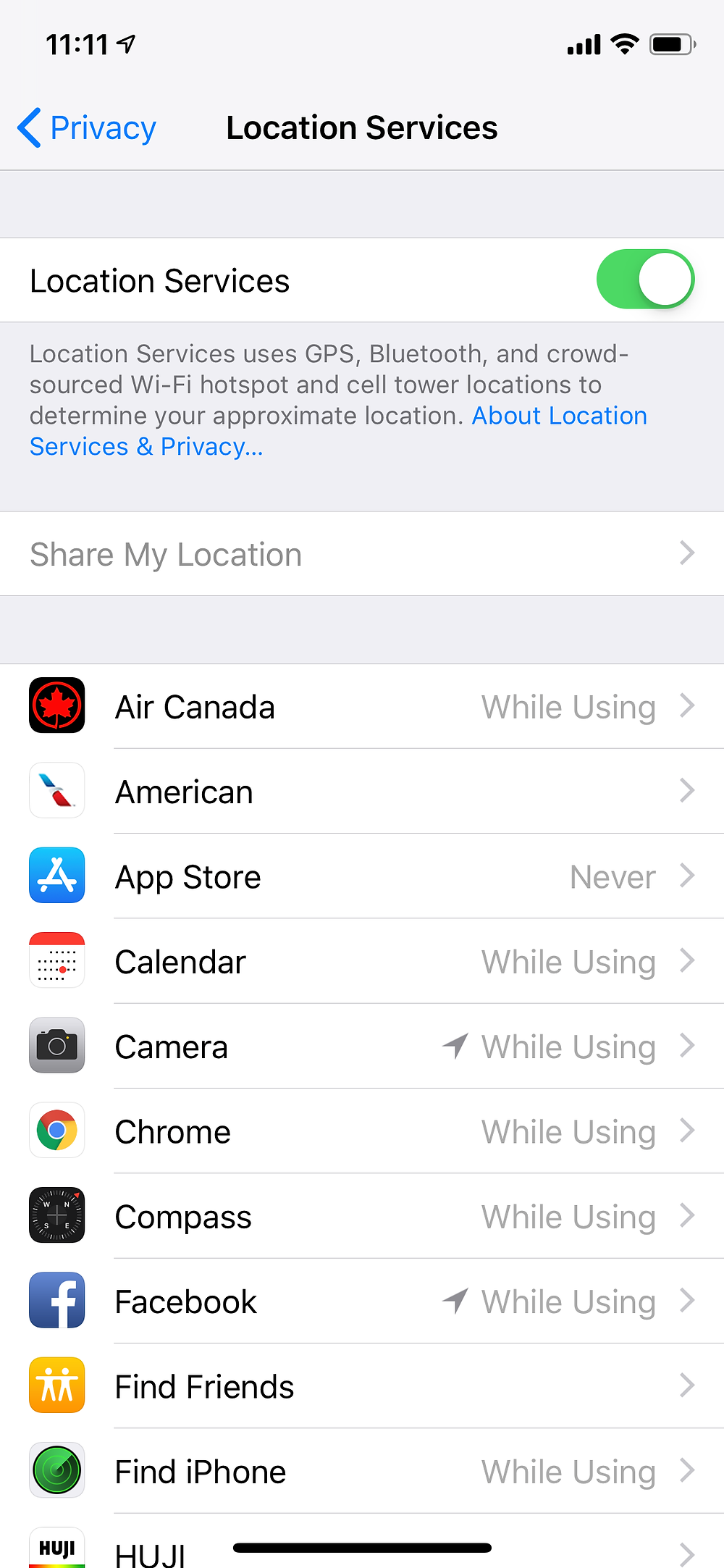 Location Services menu