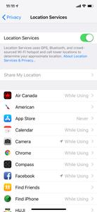 Location Services menu
